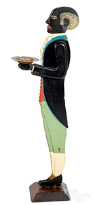 Cutout painted wood silent butler smoking stand
