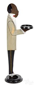 Three cutout wood silent butler smoking stands