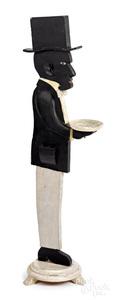 Pair of cutout wood silent butler smoking stands