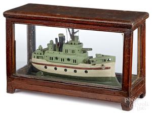 Nicel painted wood battleship model