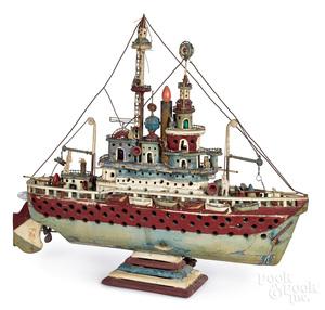 Large folk art ship model painted and electrified