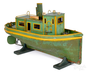 Large live steam painted tugboat with copper hull
