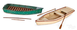 Two painted wood rowboat models, mid 20th c.