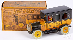 Strauss Yell-O-Taxi tin lithograph wind-up