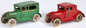 Two Arcade cast iron Ford cars