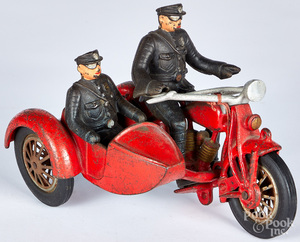 Hubley cast iron motorcycle and sidecar