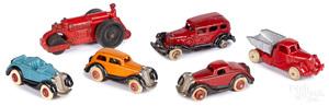 Six small cast iron vehicles, Hubley Williams Etc