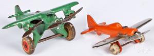 Hubley & Arcade cast iron airplanes