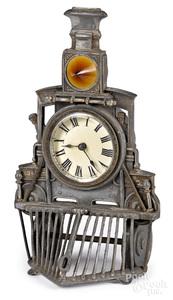 Ansonia figural train locomotive novelty clock