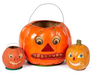 Three German candy container & Halloween lanterns