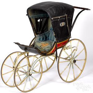 Early painted child's baby carriage