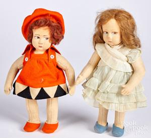 Two Lenci child felt dolls