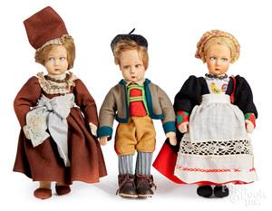 Three Lenci felt dolls in regional costumes