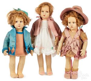 Three Lenci child felt dolls