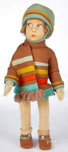 Lenci child felt doll with scarf