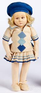 Lenci felt doll with blue beret