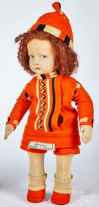 Lenci felt doll with corkscrew curls