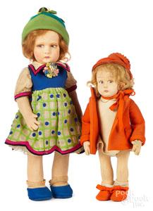 Two felt Lenci girl dolls