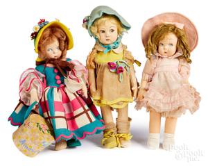 Three Lenci felt dolls