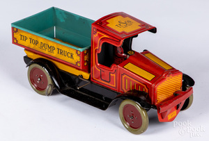 Strauss tin lithograph wind-up Tip Top Dump Truck