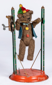 German wind-up mohair bear acrobat