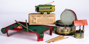 Six tin lithograph toys