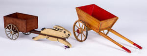 Victor Toy Co, painted wood rabbit cart pull toy, etc.