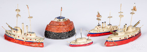 Group of painted composition battleships