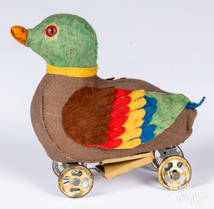 Felt duck pull toy, ca. 1900, with squeaker