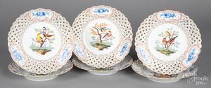 Six Meissen reticulated bird plates