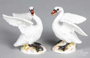 Pair of Meissen porcelain swans