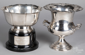 Sterling silver trophy bowl, etc.