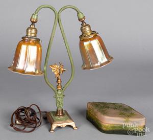 Painted metal boudoir lamp, etc.