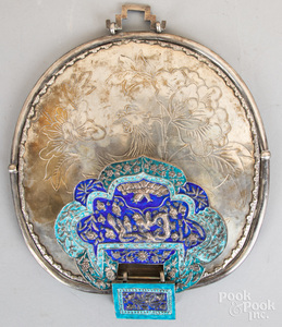 Chinese enamel decorated mirror