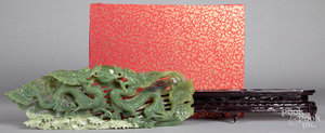 Chinese carved jadeite dragon group