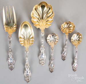 Six Whiting sterling silver lily serving pieces