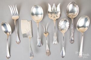 Nine sterling silver serving utensils