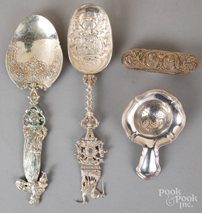 Two elaborate Continental silver spoons, etc.