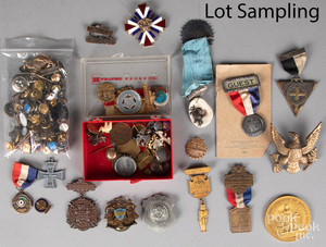 Collection of buttons, and medals