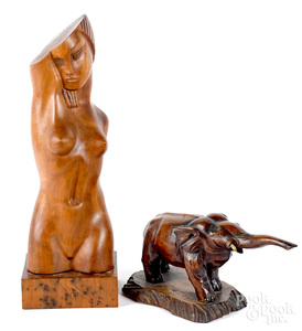 Carved wooden female nude, etc.