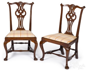 Pair of Queen Anne mahogany owl back dining chair