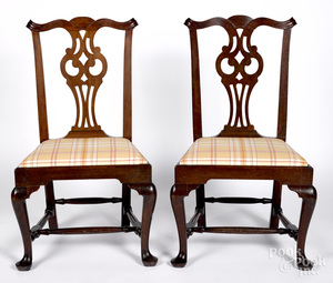 Pair Queen Anne mahogany owl back dining chairs