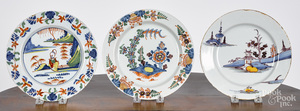 Three Delft polychrome plates