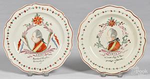 Two creamware plates