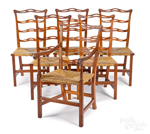 Set of six Chippendale tiger maple chairs