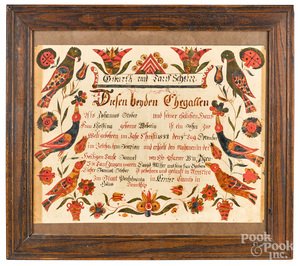 Johann Conrad Gilbert watercolor fraktur