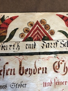 Johann Conrad Gilbert watercolor fraktur