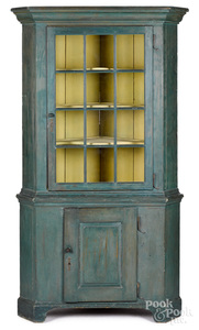 Pennsylvania painted one-piece corner cupboard