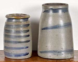 Two western Pennsylvania stoneware canning crocks