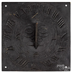 Engraved bronze sundial, dated 1689